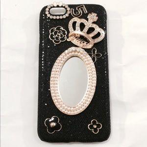 iPhone 6 Plus Black Glitter Pearl Mirror Case